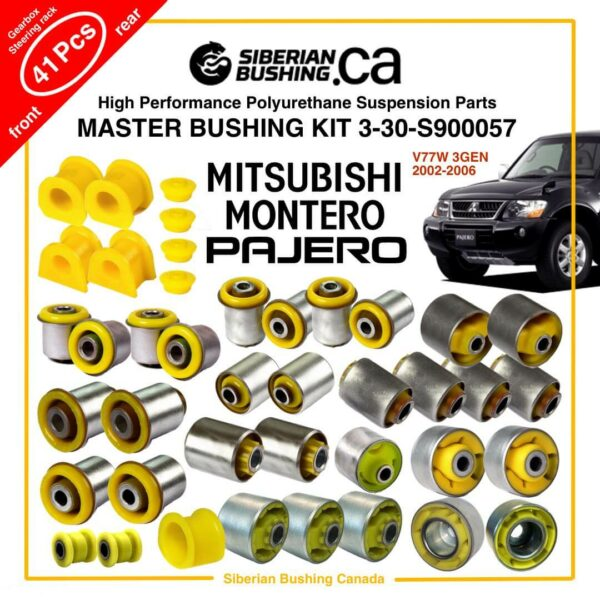 2002-2006 MITSUBISHI MONTERO/PAJERO V77W 3GEN, Master Suspension Bushing KIT, Set of 41; Siberian Bushing 3-30-S900057