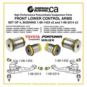 SET of 4 Polyurethane bushing KIT front lower control arm, 2005-2016 TOYOTA HILUX; 2004-2015 FORTUNER; TOYOTA 48068-0K040 48069-0K040 48654-0K040; 1-06-3214; 1-06-1433; Siberian bushing 1-30-F900076