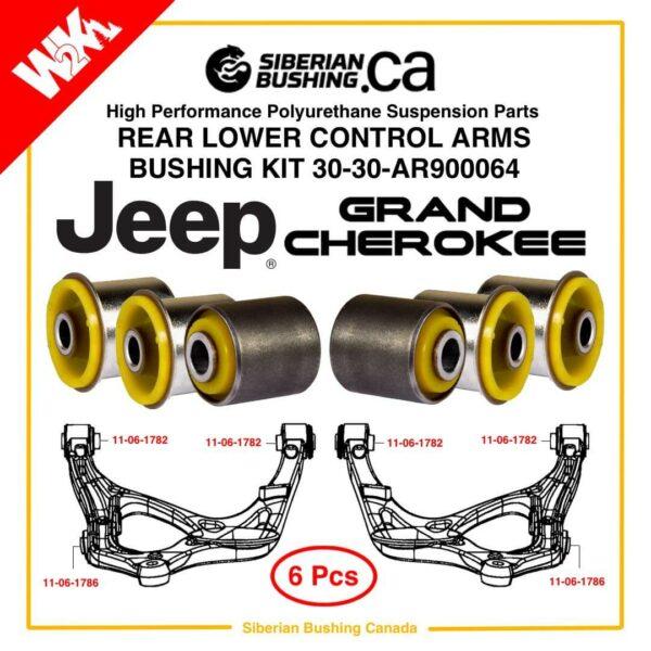JEEP GRAND CHEROKEE WK2; DODGE DURANGO; Rear Lower Control Arms Polyurethane bushings Set of 6; Siberian bushing 30-30-AR900064, OEM 52124811AF; 52124810AF